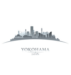 yokohama japan city skyline silhouette white vector image
