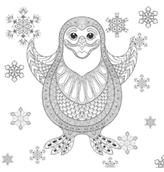 Zentangle stylized Penguin the cheerful bird vector image
