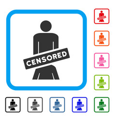 censored oral sex persons framed icon vector image vector image