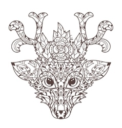 Hand drawn doodle outline deer head vector image