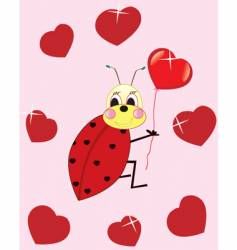 ladybird with heart vector image
