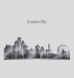 Louisville city skyline silhouette in grayscale vector