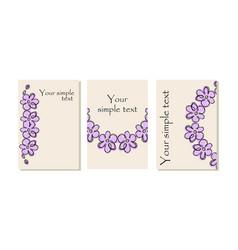 purple flower cards vector image