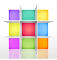 3d isolated empty colorful bookshel vector image