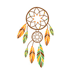 double dream catcher with feathers native indian vector image