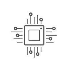 microchip line icon cpu central processing unit vector image vector image