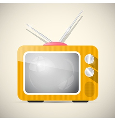 Retro orange television tv vector