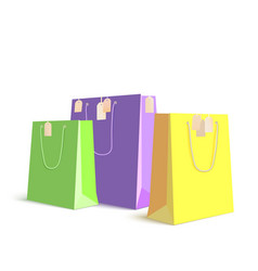 set of paper colored shopping bags resizable vector image