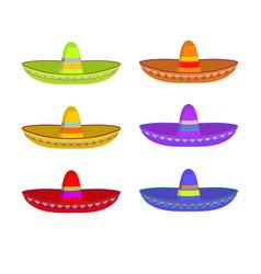 sombrero set colorful mexican hat ornament vector image vector image