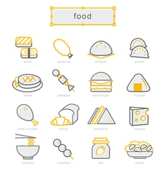 Thin line icons set food yellow vector image vector image