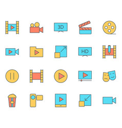 video thin line icons set pictograms vector image vector image