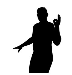black silhouette of a man showing hand sign ok vector image