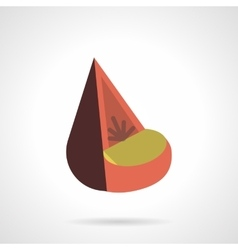 Cone soft seat flat color design icon vector image
