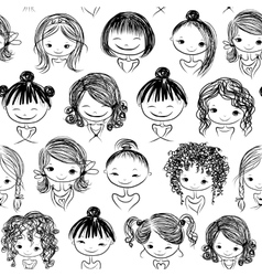 Cute girls seamless pattern for your design vector image