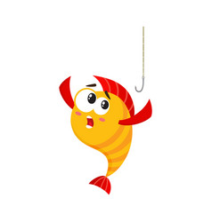 funny golden yellow fish character with human vector image
