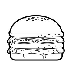 isolated fast food hamburger icon vector image