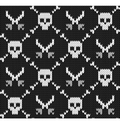 Knitted background with skulls vector image