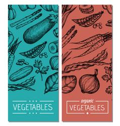 natural vegetables hand drawn flyer set vector image vector image