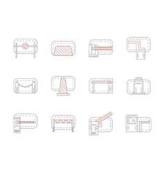 Set of barrier and stopper flat line icons vector image vector image
