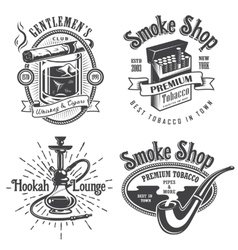 Set of vintage tobacco smoking emblems vector image