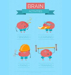 cartoon brain activities poster vector image