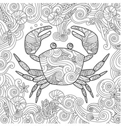 coloring page ornate crab isolated on white vector image