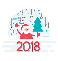 happy new year 2018 year with ribbon and santa vector image