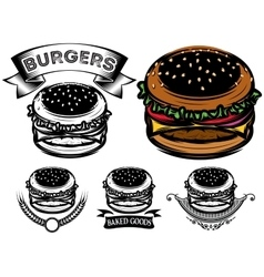 monochrome and color burger with design options vector image