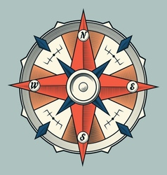 Vintage colourful graphic compass vector image