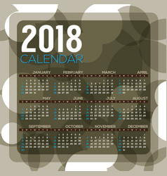 2018 dark green circle pattern printable calendar vector