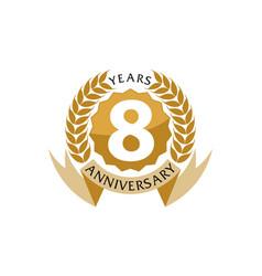 8 years ribbon anniversary vector image