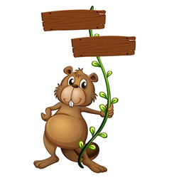 A beaver holding a vine plant with signboards vector image