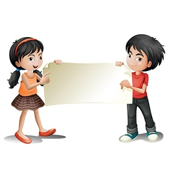 A girl and a boy holding an empty signage vector