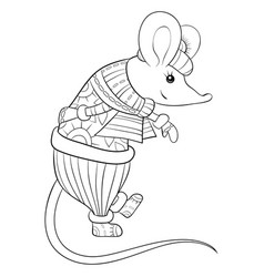 Adult coloring bookpage a cute christmas mouse vector