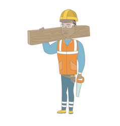 African carpenter holding saw and wooden board vector