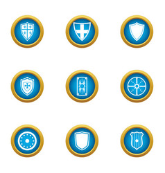 ancient shield icons set flat style vector image