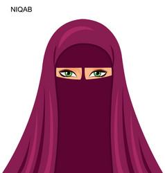 Arab niqab muslim woman vector