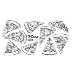 Assortment different slice pizza set ink vector