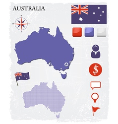 Australia map icons and buttons set vector