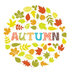Autumn Round frame with leaves Background with vector