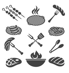 barbecue grill icon set vector image