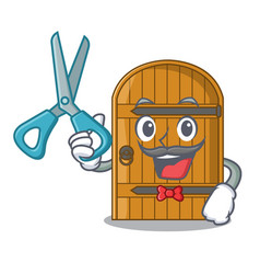 Barber cartoon wooden door massive closed gate vector
