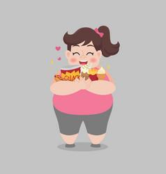 Big fat happy woman enjoy eat junk food vector