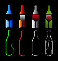 Bottles and glasses- spirits vector image