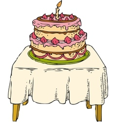 Cake on table vector