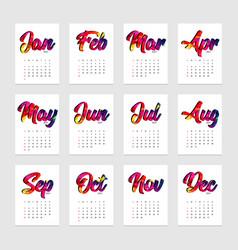Calendar 2021 design template week starts from vector
