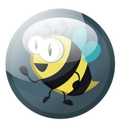 cartoon character of a bee in grey blue circle on vector image