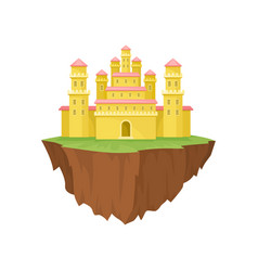 cartoon yellow island castle on white background vector image