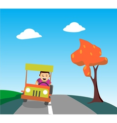 cheerful man driving vector image