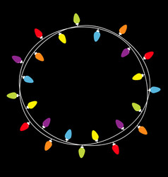Christmas lights round frame holiday festive xmas vector